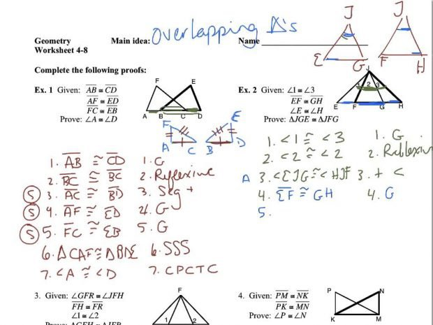 Overlapping Triangle Proofs Worksheets