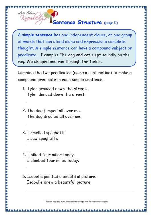 Sentence Structure Worksheet