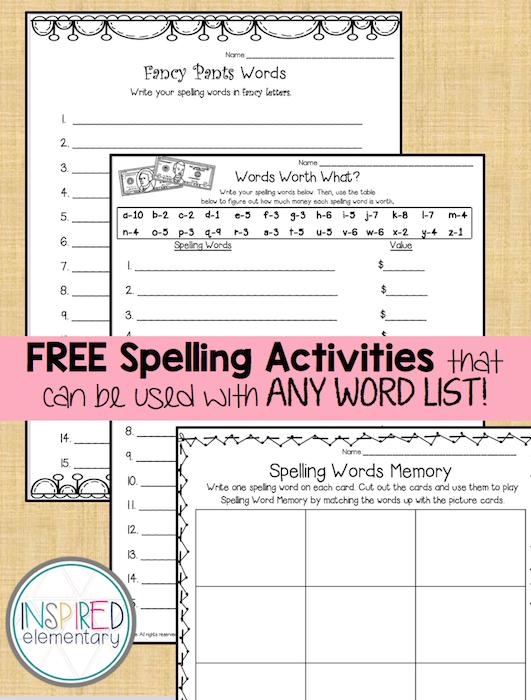 Spelling Activities Freebies