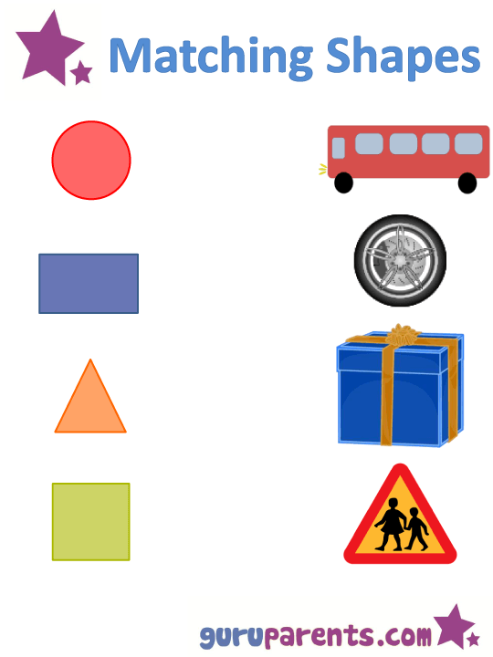 Matching Shapes To Pictures Worksheet