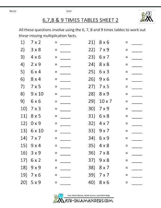 6 X Table Worksheet – Vishalcargopackersmover Com