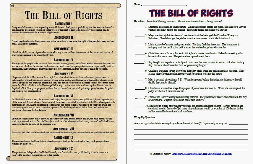 Bill Of Rights Printables