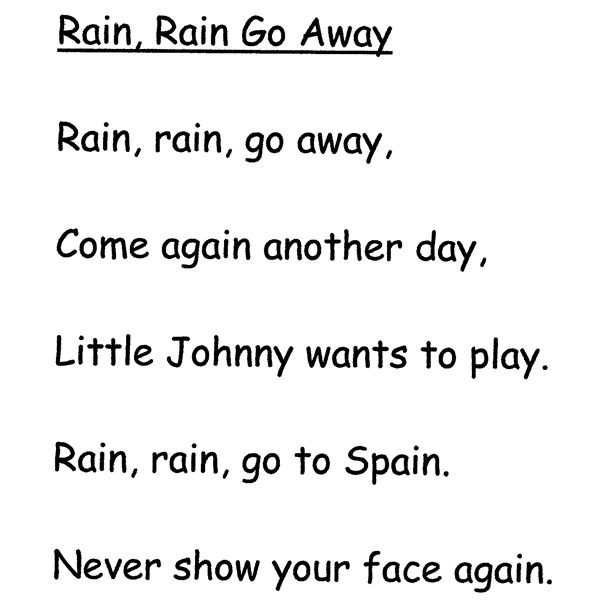 Rain, Rain, Go Away Nursery Rhyme  Lesson Plan And Activities