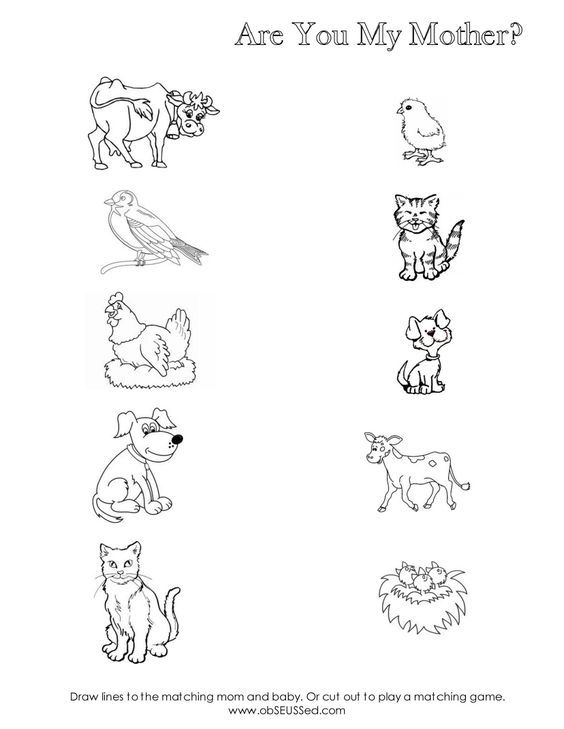 Are You My Mother Worksheet For Mom Baby Animal Matching, Cute