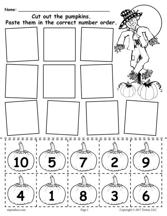 Free Printable Pumpkin Number Ordering Worksheet 1