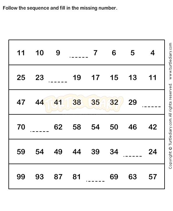Number Sequence Worksheet 3