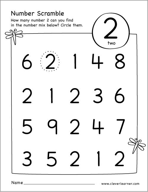 Free Printable Scramble Number Two Activity
