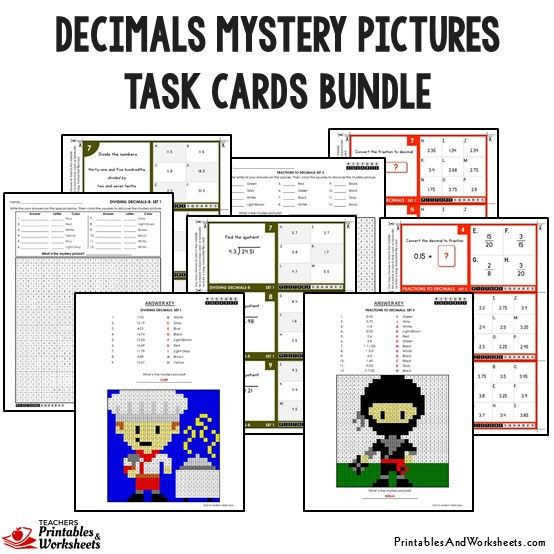 Decimals Mystery Pictures Task Cards With Coloring Worksheets