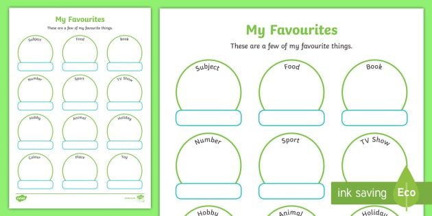 My Favourite Things Worksheet   Activity Sheet