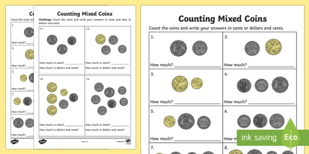 Sa Counting Mixed Coins Worksheet