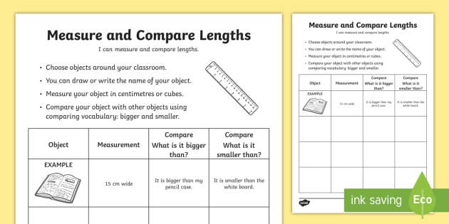 Measure And Compare Lengths Worksheet   Worksheet