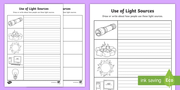 Use Of Light Sources Worksheet   Worksheet