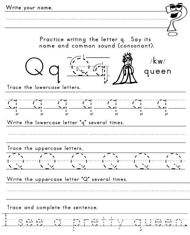 Letter Q Worksheet (plus  Pretty  Spelling Word From Last Week