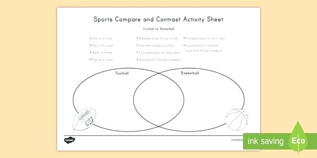 Basketball Worksheets Football And Basketball Compare And Contrast