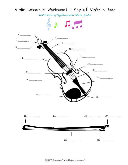 Parts Of Violin And Bow, Free Pdf Worksheet