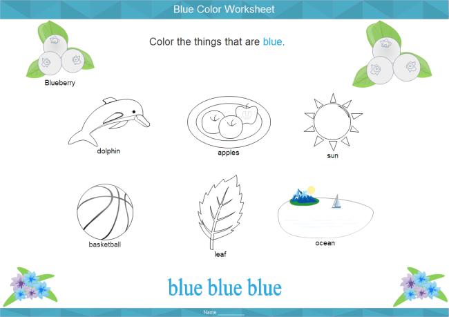 Blue Color Worksheet