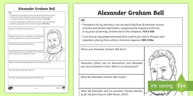 Alexander Graham Bell Fact File Research Worksheet   Worksheet