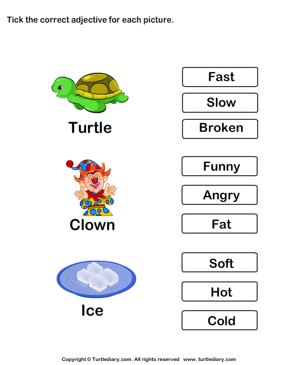 Choose The Correct Adjective Slow Fast Broken Worksheet