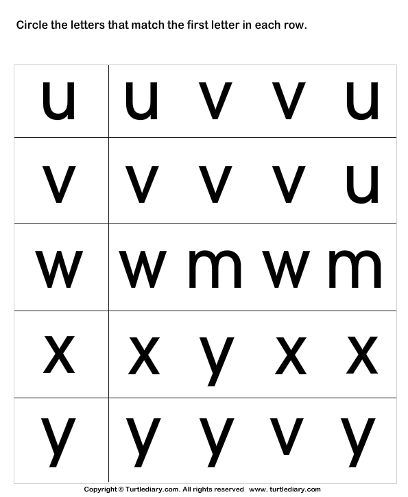 Circle The Matching Letter U V W X Y Worksheet
