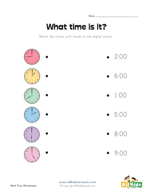 Match Analog And Digital Clocks Worksheet