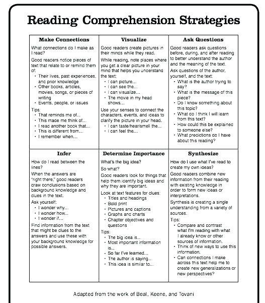 Comprehension Strategies Worksheets Reading Checklist Reading