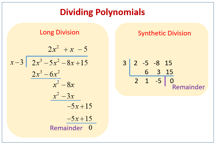 Dividing Polynomials And The Remainder Theorem (solutions