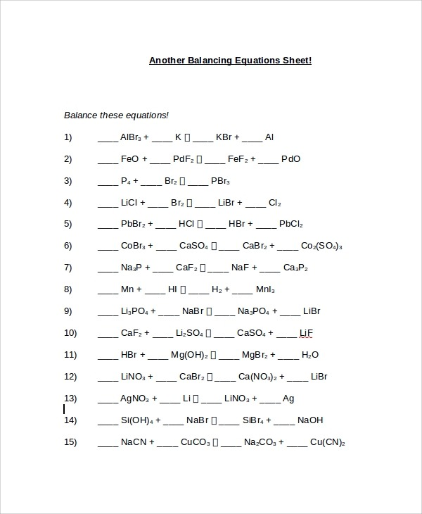 Sample Balancing Equations Worksheet Templates