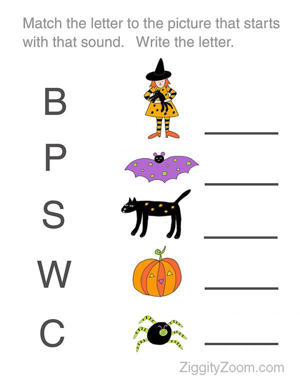Halloween Worksheet For Preschoolers  Match The Letter To The