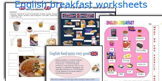 English Breakfast Worksheets