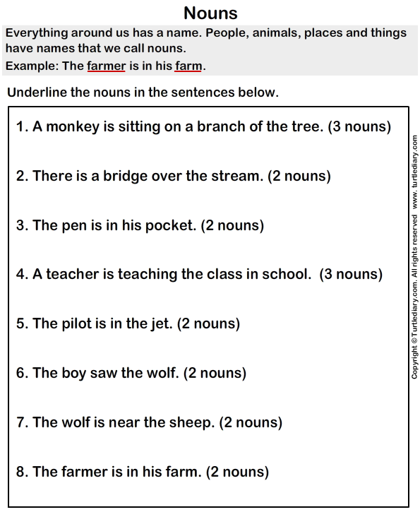 Finding Nouns Worksheet