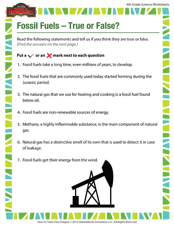Fossil Fuels True Or False  View – Worksheet For 4th Grade – Sod