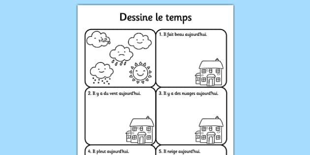 Draw The Weather Worksheet French