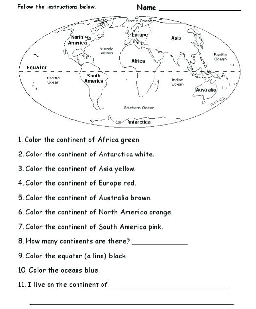 6th Grade Geography Worksheets