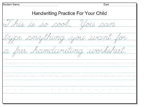 Free Printable Beginner Junior A Practice Worksheet Cursive