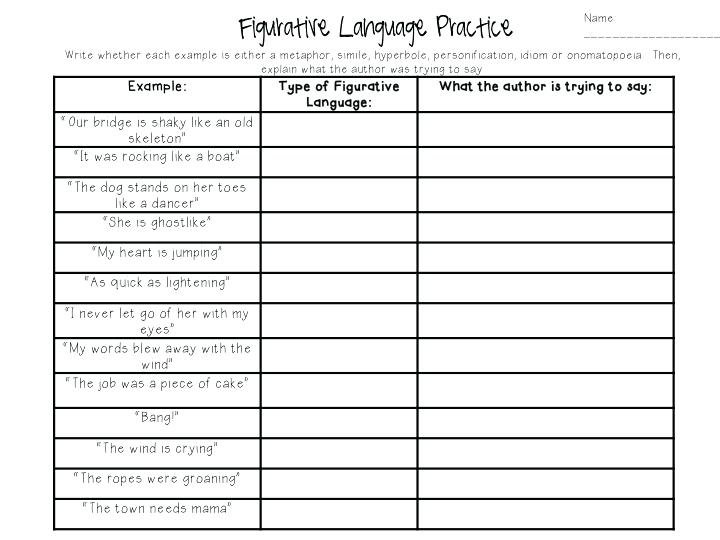 Figurative Language Printable Worksheets
