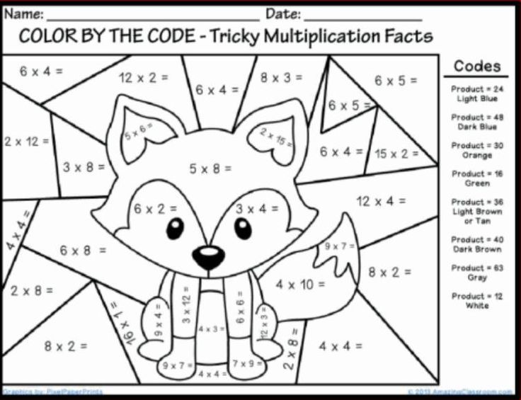 Fun Coloring Math Worksheets For 4th Grade