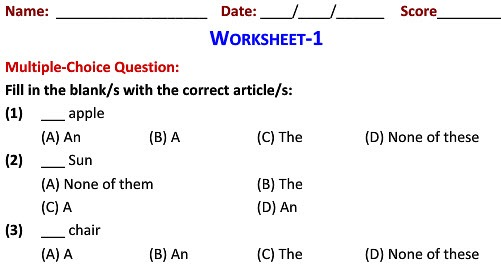 English Grammar Articles Worksheets For Kids