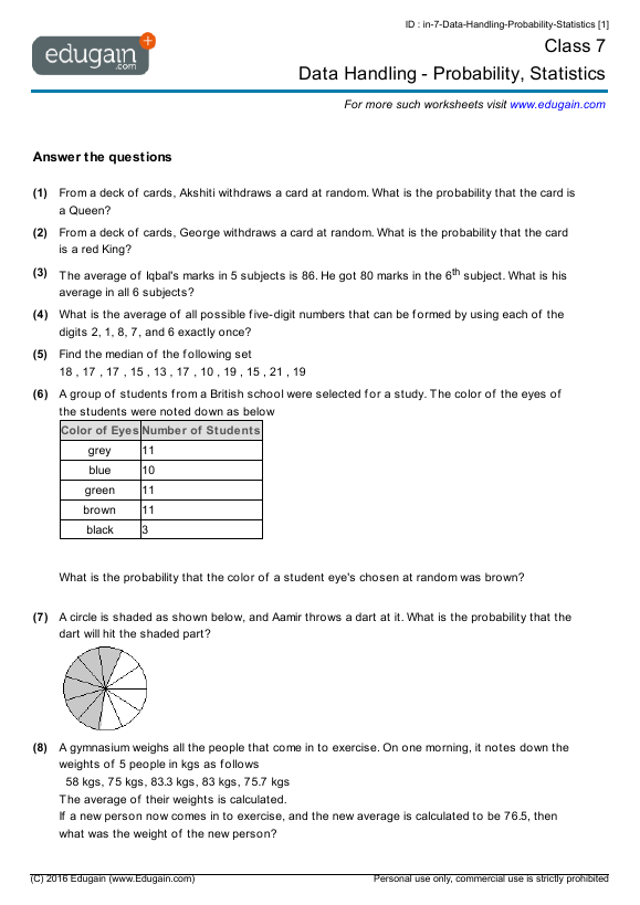 Grade 7 Math Worksheets And Problems  Data Handling