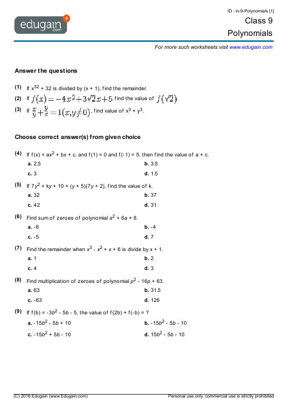 Grade 9 Math Questions Worksheets