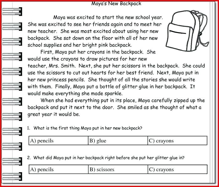 Grade Reading Comprehension Worksheets Multiple Choice To