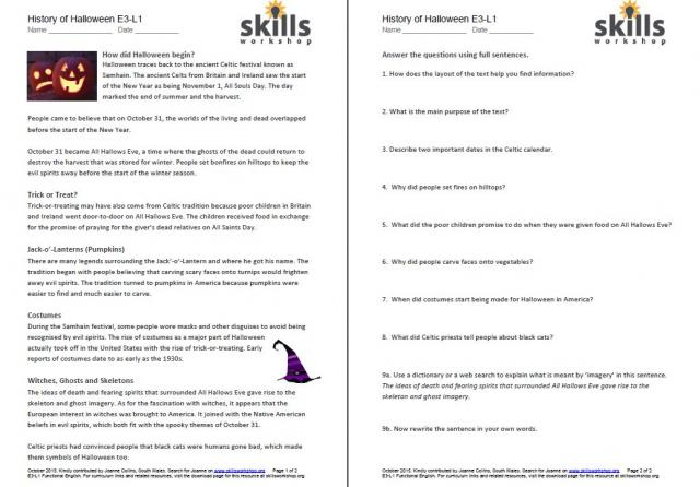 History Of Halloween Differentiated Reading Comprehension