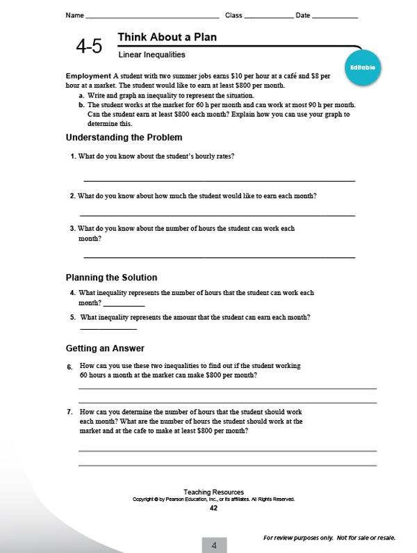 High School Integrated Math Worksheets