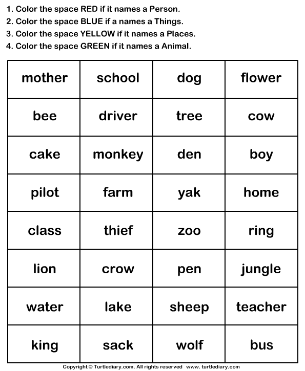 Identify Nouns And Color The Box Worksheet