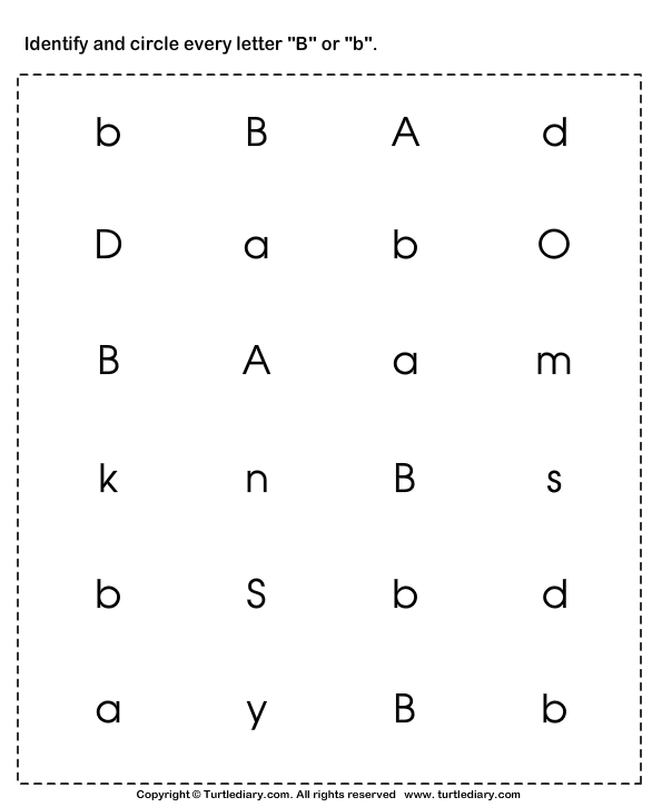 Identifying Lowercase And Uppercase Letter B Worksheet