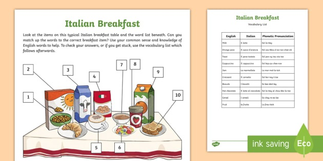 New   Italian Breakfast Label And Learn Worksheets