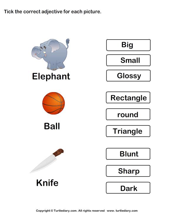 Kindergarten Worksheets Adjectives