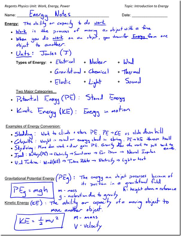 Kinetic Energy Worksheet Kinetic Energy Can Be Defined As