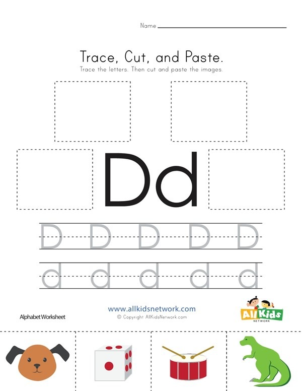 Trace, Cut And Paste Letter D Worksheet