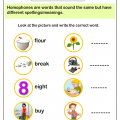 Homophones With Pictures Worksheets