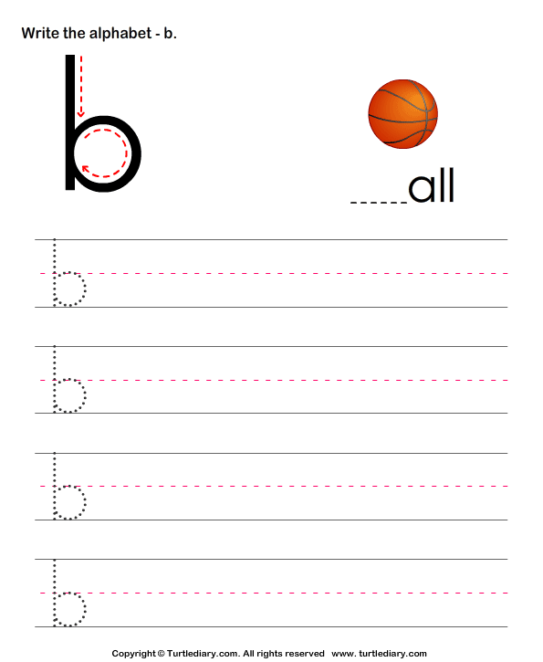 Lowercase Alphabet Writing Practice B Worksheet